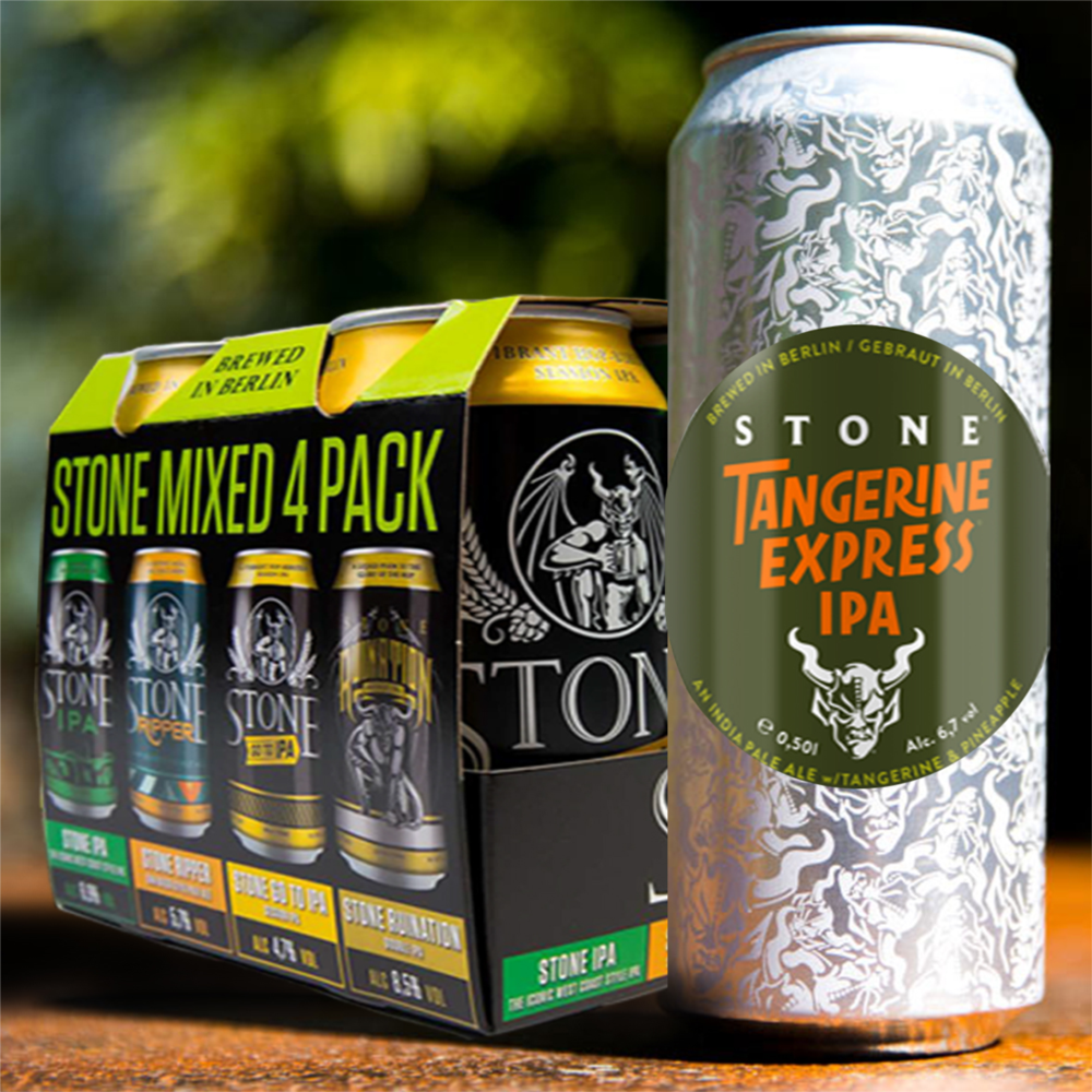 UNIQCAN STONE TANGERINE EXPRESS IPA Y MIXED 4 PACK